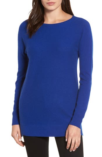 Petite Women's Halogen High/low Wool & Cashmere Tunic Sweater, Size XX-Small P - Blue