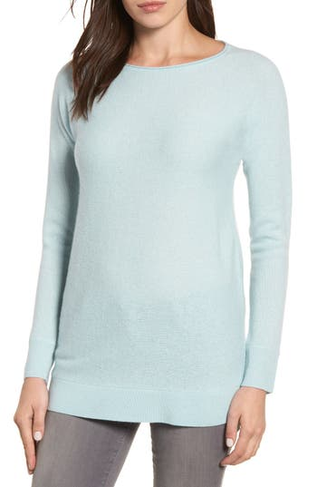 Women's Halogen High/low Wool & Cashmere Tunic Sweater, Size Small - Blue