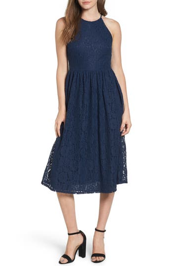 Women's Soprano High Neck Lace Midi Dress, Size X-Small - Blue