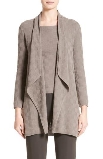 Women's Armani Collezioni Checkerboard Cashmere Drape Cardigan