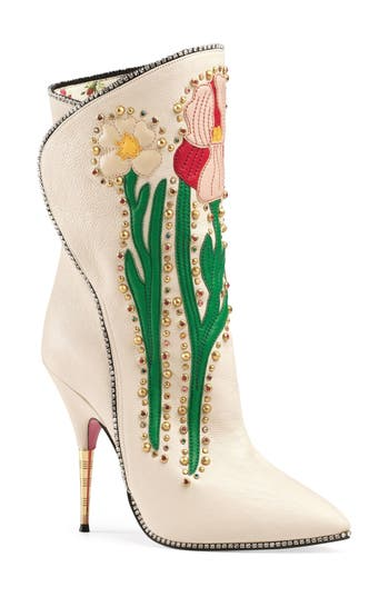 Gucci Fosca Floral Embellished Pointy Toe Boot, White