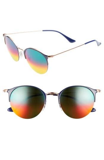 Ray-Ban 50Mm Round Sunglasses - Gold Blue/ Brown Mirror