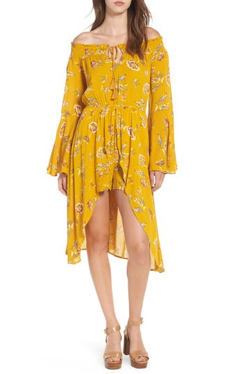 Women's Love, Fire Off The Shoulder Maxi Romper, Size Small - Yellow