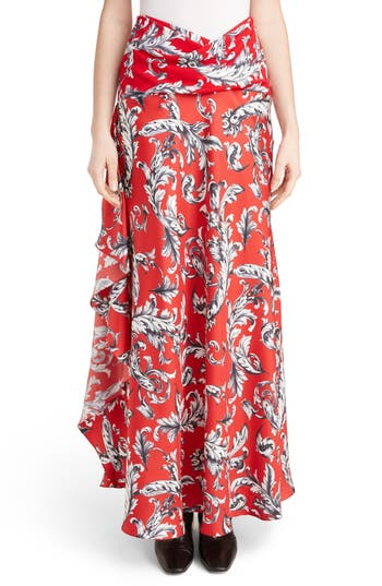 Women's J.w.anderson Filigree Print Asymmetrical Maxi Skirt
