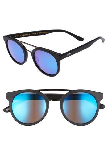 Women's Diff Astro 49Mm Polarized Aviator Sunglasses - Matte Black/ Blue