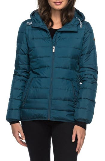 Women's Roxy Forever Freely Puffer Jacket, Size X-Small - Blue