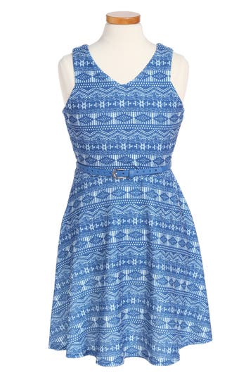 Girl's Blush By Us Angels Geo Print Fit & Flare Dress