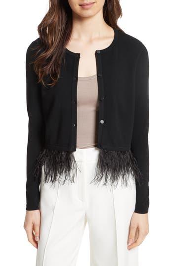 Women's Milly Feather Trim Cardigan, Size Petite - Black
