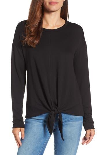 Women's Bobeau Tie Front Sweatshirt, Size Small - Black