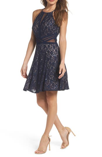Women's Morgan & Co. Sheer Inset Lace Fit & Flare Dress