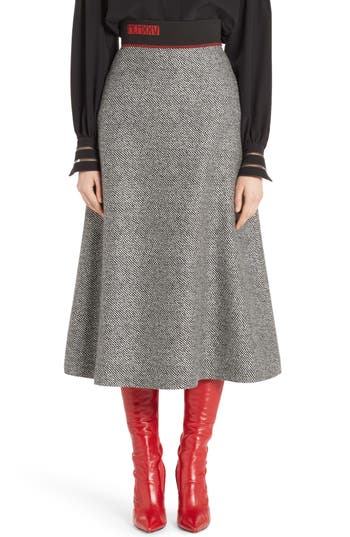 Women's Fendi Chevron Knit A-Line Skirt, Size 8 US / 44 IT - Black