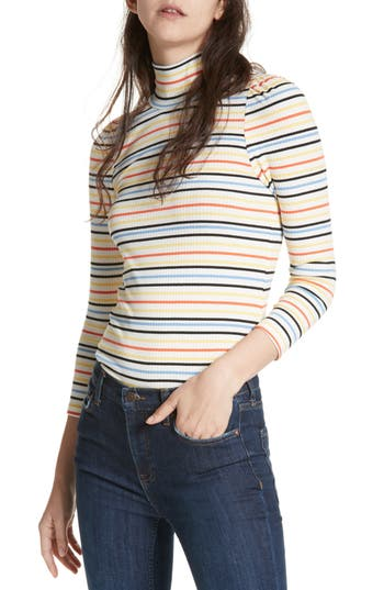 Women's Free People I'M Cute Stripe Turtleneck Sweater, Size X-Small - Ivory