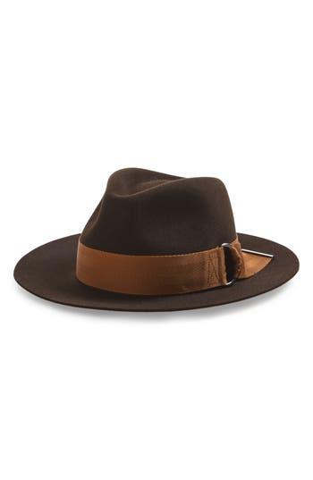 Women's Maison Michel Rico Buckle Brim Fur Felt Hat - Brown