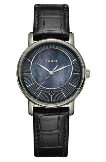 Women's Rado Diamaster Leather Strap Watch, 33Mm