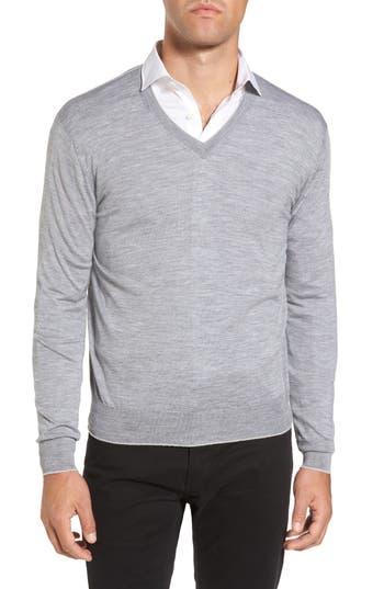 Eleventy Merino Wool & Silk Tipped Sweater, Grey