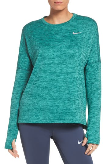 Women's Nike Therma Sphere Element Running Top, Size X-Small - Green