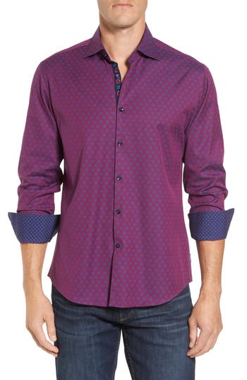 Men's Stone Rose Slim Fit Flower Print Sport Shirt, Size 2(s) - Purple