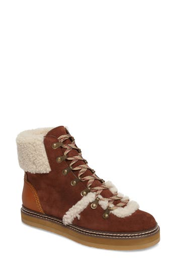 Women's See By Chloe 'Eileen' Genuine Shearling Boot, Size 5US / 35EU - Brown