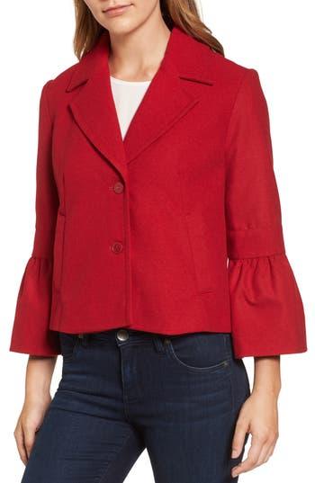 Women's Halogen Ruffle Cuff Jacket, Size X-Large - Red