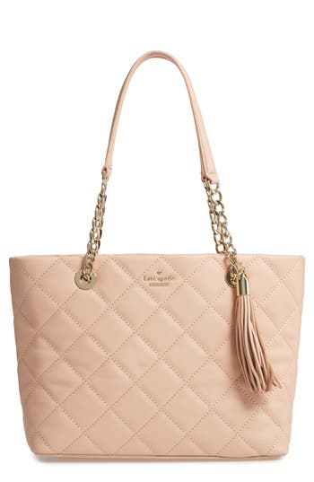 Kate Spade New York Small Emerson Place - Priya Quilted Leather Tote - Beige