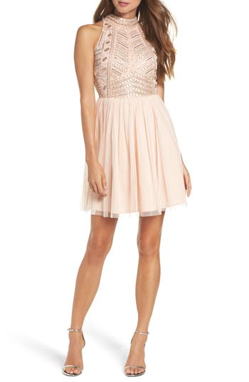 Lace & Beads Wren Beaded Skater Dress, Pink