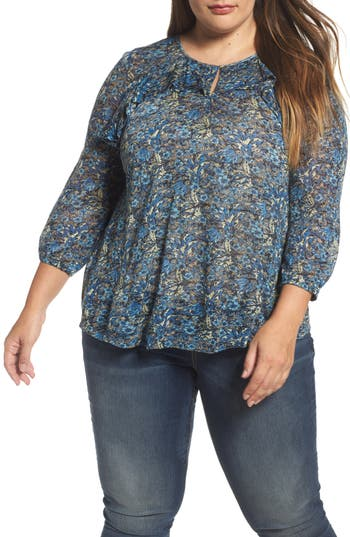 Plus Size Women's Lucky Brand Ruffle Trim Floral Top, Size 1X - Blue