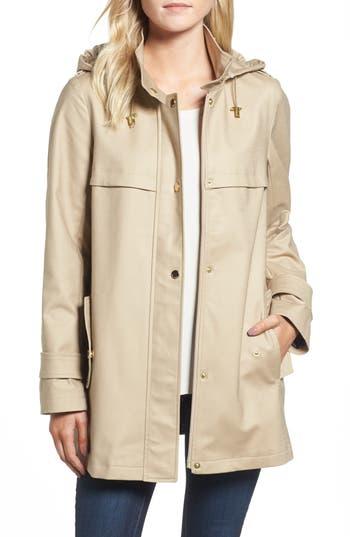 Women's Trina Trina Turk A-Line Rain Jacket, Size X-Small - Beige