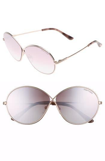 Tom Ford Sunglasses RANIA 64MM OVERSIZE ROUND SUNGLASSES - RHODIUM/ SMOKE MIRROR