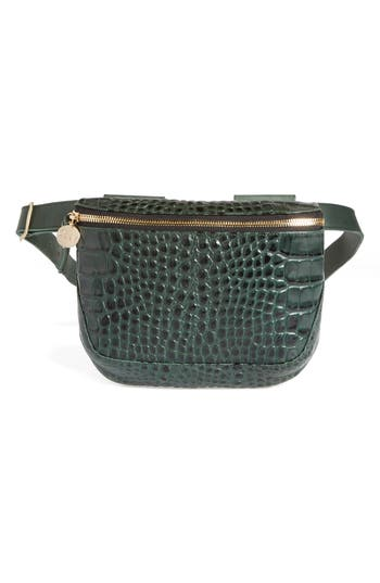 Clare V CROC EMBOSSED LEATHER FANNY PACK - GREEN
