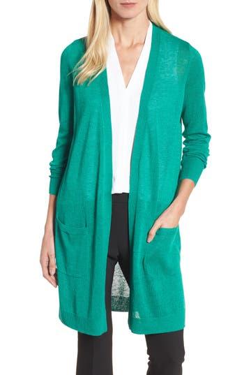 Women's Halogen Long Linen Blend Cardigan, Size Medium - Green