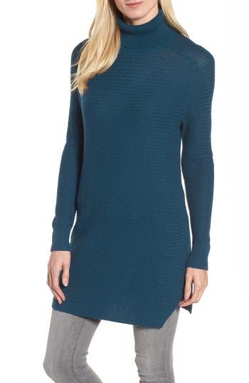 Women's Halogen Turtleneck Tunic Sweater, Size X-Small - Blue/green