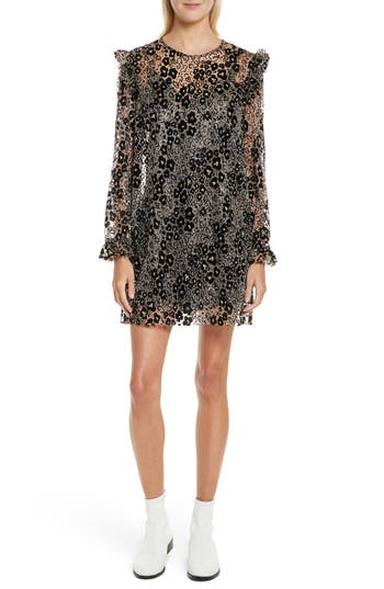 Opening Ceremony Floral Glitter Dress, Black