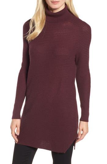 Women's Halogen Turtleneck Tunic Sweater, Size X-Small - Burgundy
