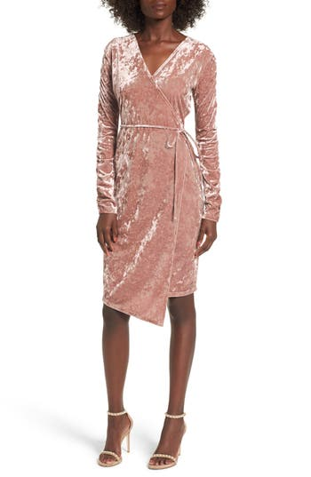 Leith Ruched Velour Wrap Dress, Pink