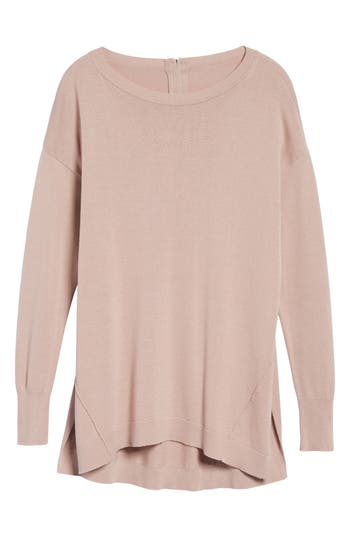 Women's Caslon Zip Back High/low Tunic Sweater, Size Large - Pink