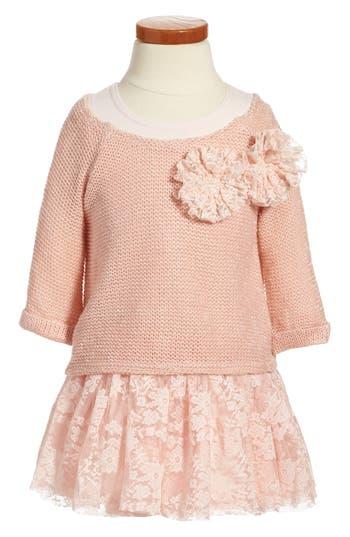 Girl's Pippa & Julie Sweater & Lace Skirt Dress, Size 4 - Pink