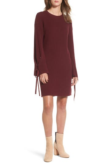 Bp. Tie Sleeve Sweater Dress, Red