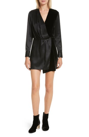 Women's Rag & Bone Victor Silk And Velvet Wrap Dress, Size XX-Small - Black