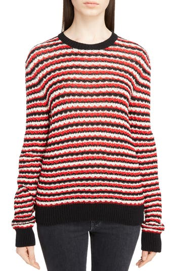 Women's Saint Laurent Crochet Stripe Sweater, Size Medium - Red