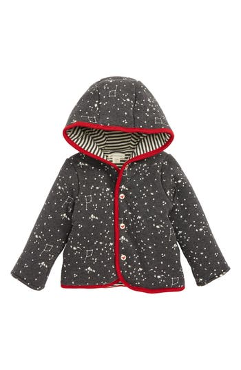 Infant Boy's Burt's Bees Reversible Organic Cotton Hoodie, Size 6-9M - Grey