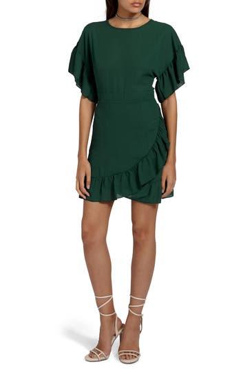 Women's Missguided Ruffle Chiffon Sheath Dress, Size 0 US / 4 UK - Green