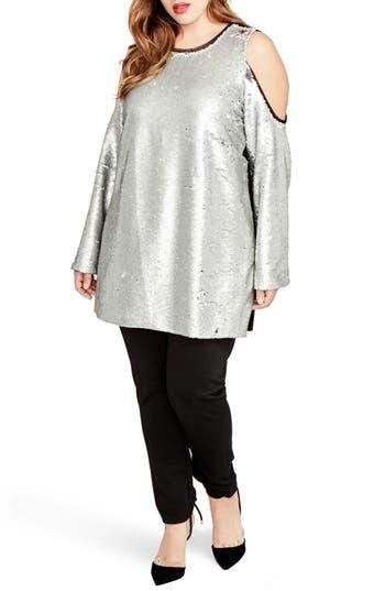 Plus Size Women's Rachel Rachel Roy Cold Shoulder Sequin Dress, Size 0X - Metallic