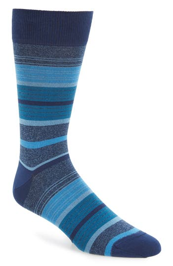 Men's Bugatchi Stripe Mercerized Blend Socks