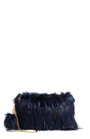 Natasha Faux Fur Clutch - Blue