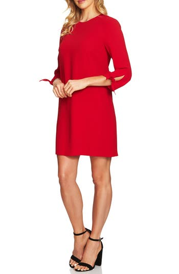 Women's Cece Tie Sleeve Shift Dress, Size 00 - Red