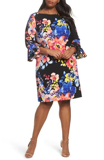 Plus Size Women's Tahari Print Ruffle Sleeve Shift Dress, Size 22W - Black