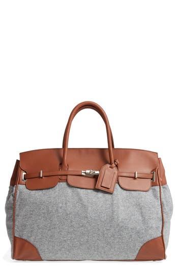 Men's Eleventy Cooper Leather & Flannel Duffel Bag - Brown