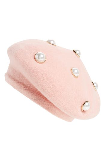 Women's Berry Imitation Pearl Embellished Beret - Pink