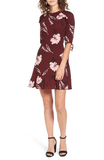 Bp. Tie Detail Cutout Dress, Burgundy