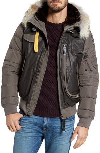 Parajumpers Leather Trim Down Bomber Jacket With Genuine Coyote Fur & Faux Fur, Grey